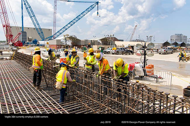 Vogtle 3&4 now employs over 8,000 workers