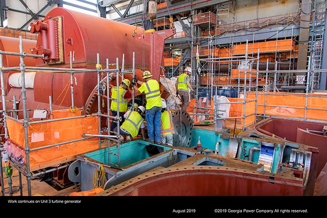 Work continues on Unit 3 turbine generator