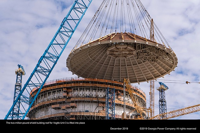 The two-million-pound shield building roof for Vogtle Unit 3 is lifted into