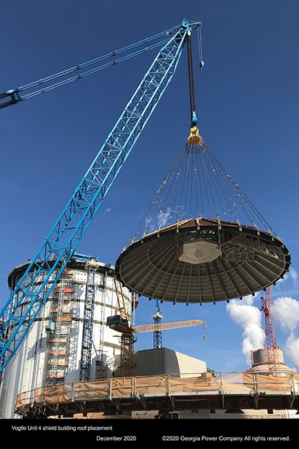 Vogtle Unit 4 shield building roof placement