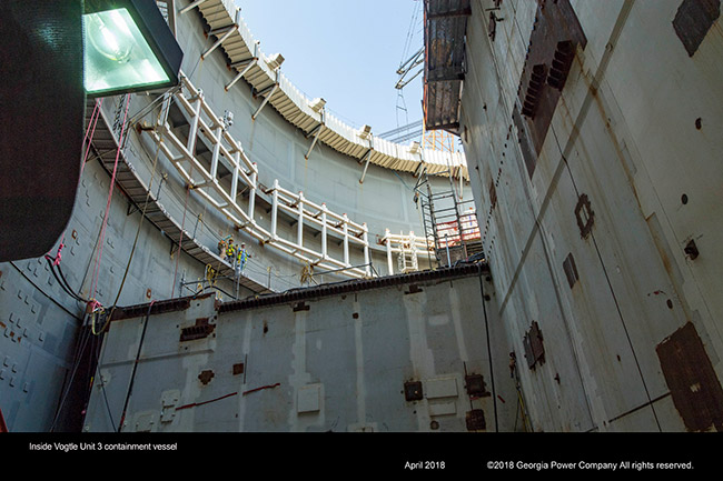 Inside Vogtle Unit 3 containment vessel
