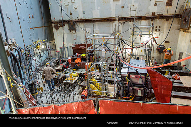 Work continues on the maintenance deck elevation inside Unit 3 containment