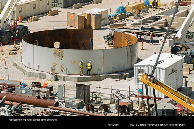 Fabrication of fire water storage tanks continues