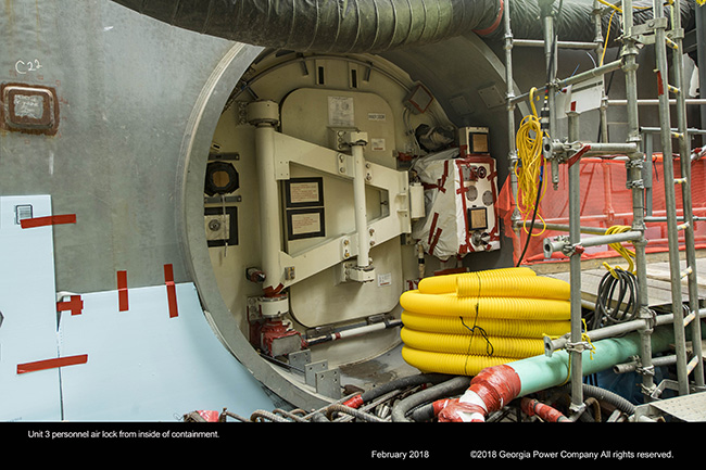Unit 3 personnel air lock from inside containment