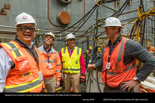 Georgia Power, Southern Nuclear and Bechtel leadership tour the inside of Unit 3 containment