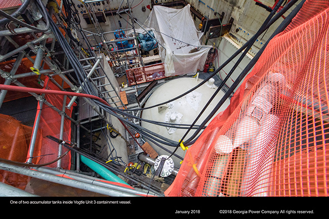One of two accumulator tanks inside Vogtle Unit 3 containment vessel