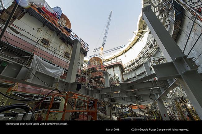 Maintenance deck inside Vogtle Unit 3 containment vessel