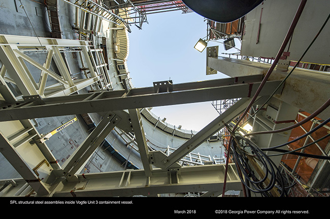 SPL structural steel assemblies inside Vogtle Unit 3 containment vessel