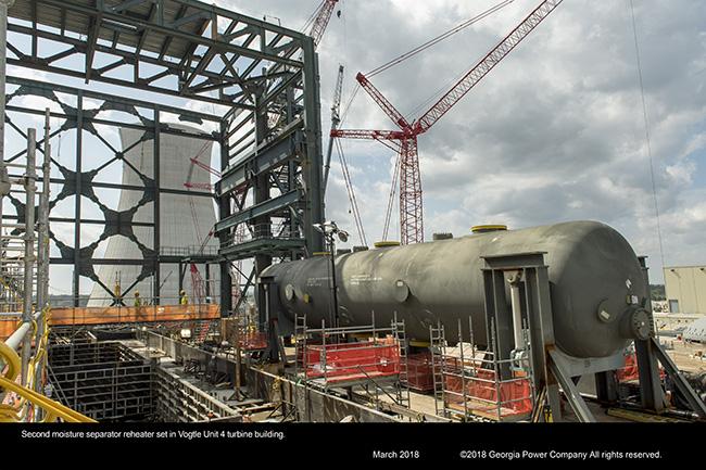 Second moisture separator reheater set in Vogtle Unit 4 turbine building