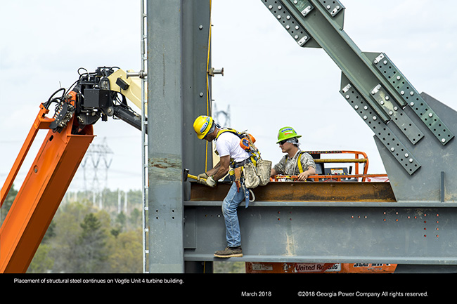 Placement of structural steel continues on Vogtle Unit 4 turbine building
