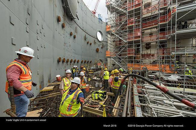 Inside Vogtle Unit 4 containment vessel