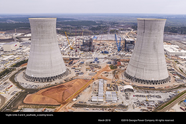 Vogtle Units 3 and 4 southside with cooling towers