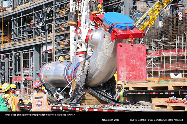 Final piece of reactor coolant piping for the project is placed in Unit 4