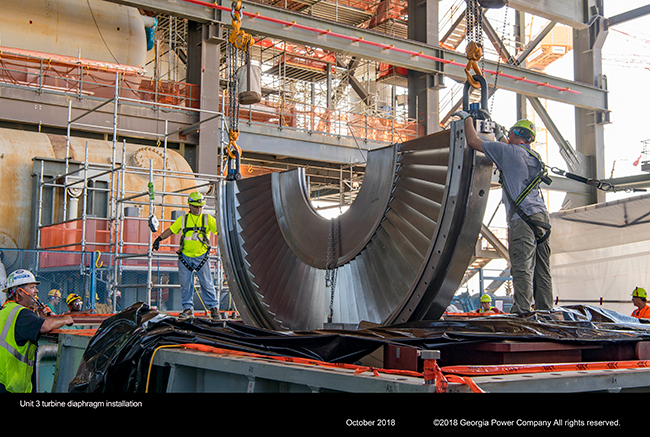 Unit 3 turbine diaphragm installation