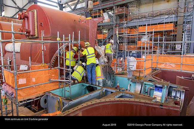 Work continues on Unit 3 turbine generator