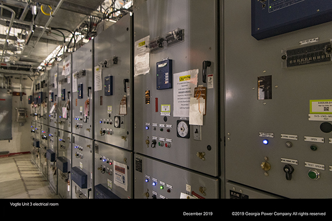 Vogtle Unit 3 electrical room