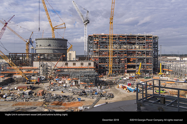 Vogtle Unit 4 containment vessel (left) and turbine building (right)