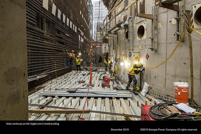 Work continues on the Vogtle Unit 3 shield building