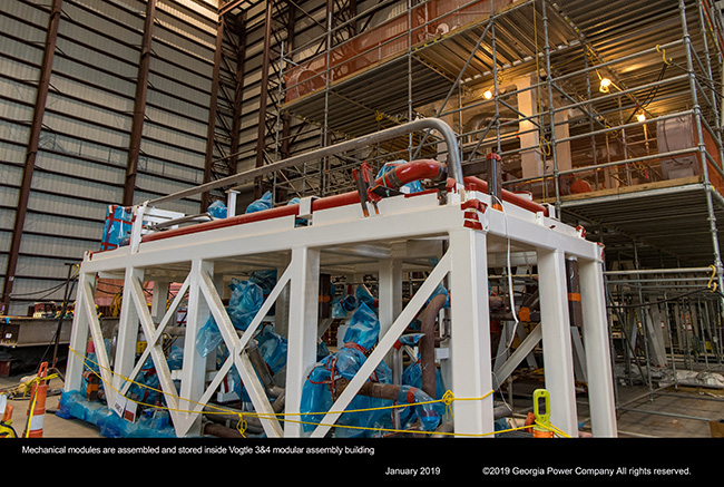 Mechanical modules are assembled and stored inside Vogtle 3&4 modular assembly building