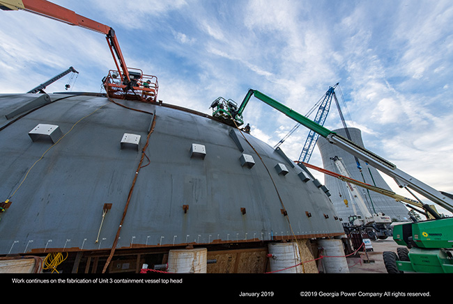 Work continues on the fabrication of Unit 3 containment vessel top head