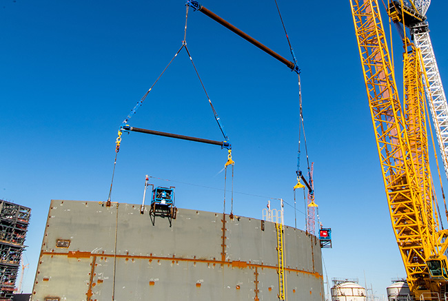 Vogtle Unit 3 shield building panel staged for installation
