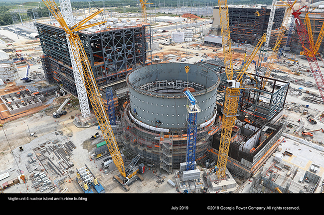Vogtle unit 4 nuclear island and turbine building