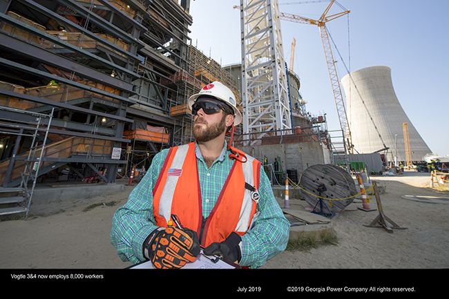 Vogtle 3&4 now employs 8,000 workers