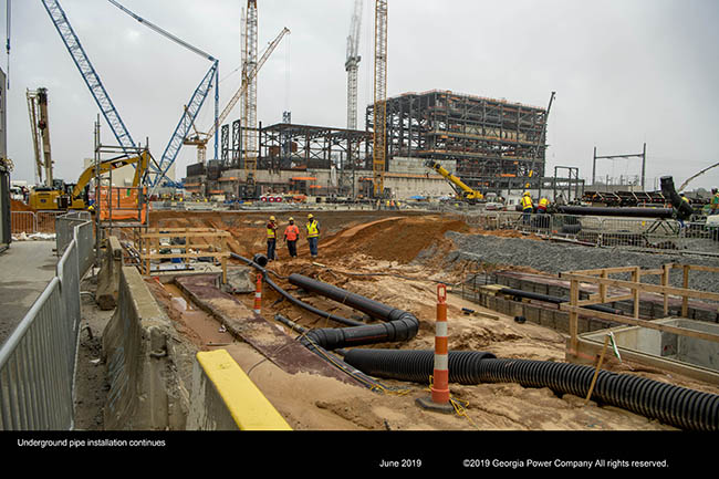 Underground pipe installation continues