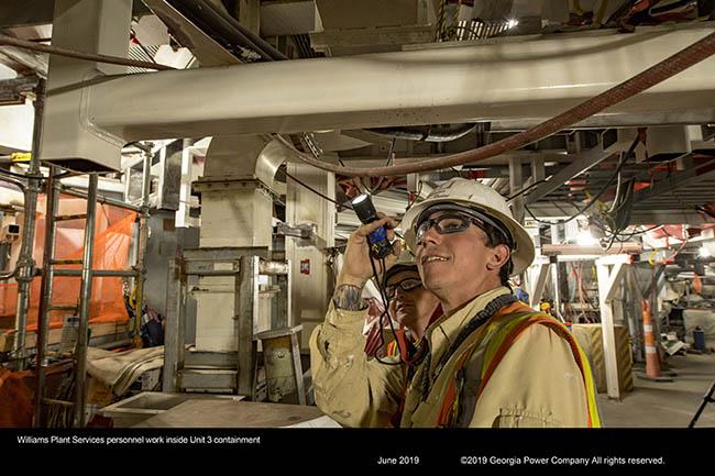Williams Plant Services personnel work inside Unit 3 containment