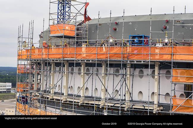 Vogtle Unit 3 shield building and containment vessel