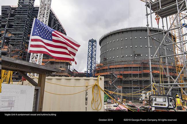 Vogtle Unit 4 containment vessel and turbine building
