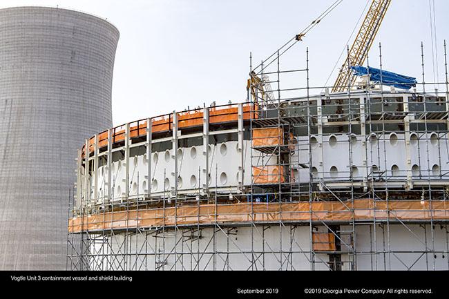 Vogtle Unit 3 containment vessel and shield building