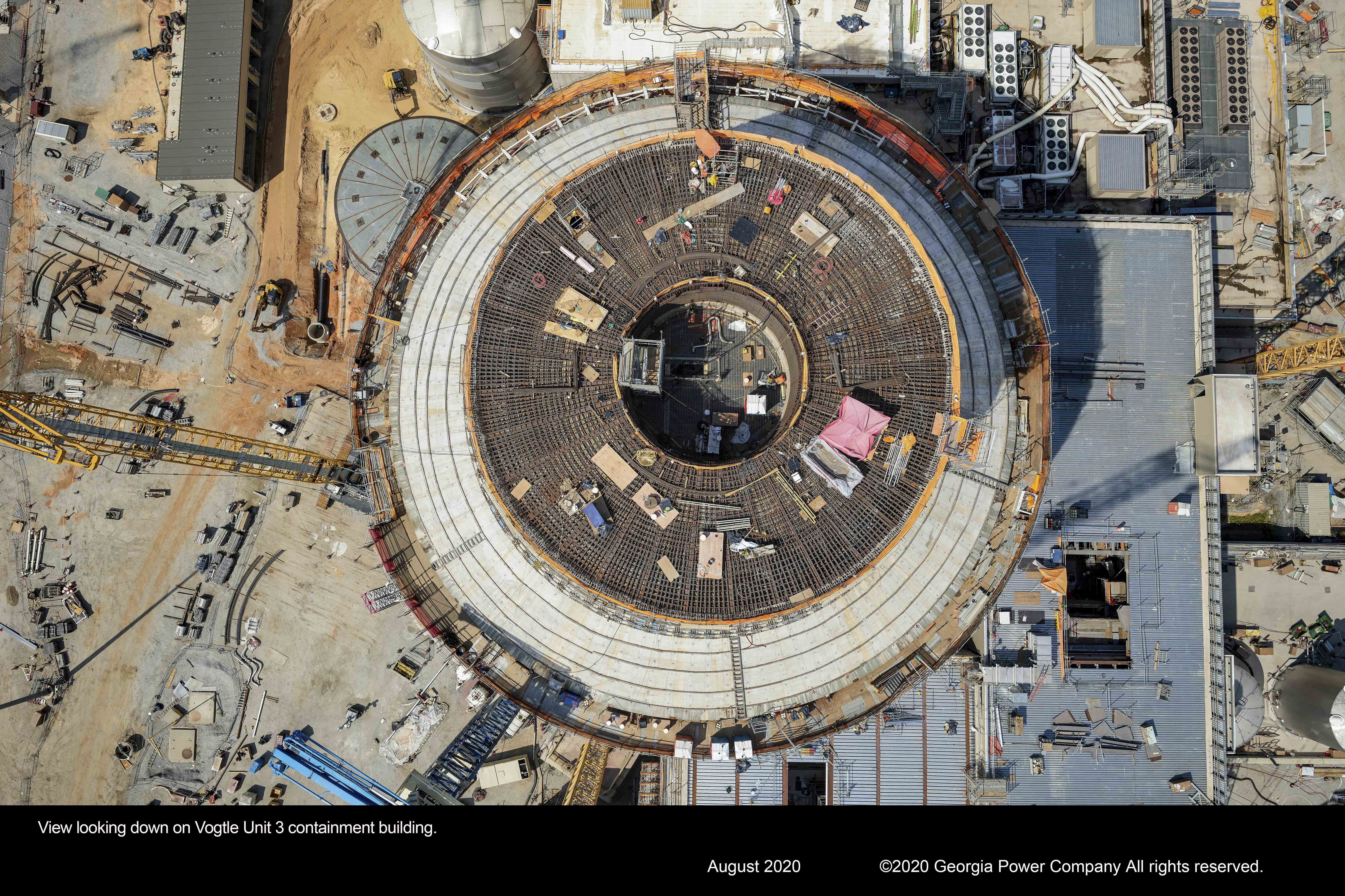View looking down on Vogtle Unit 3 containment building