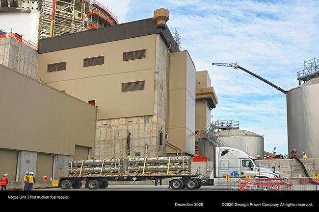 Vogtle Unit 3 first nuclear fuel receipt