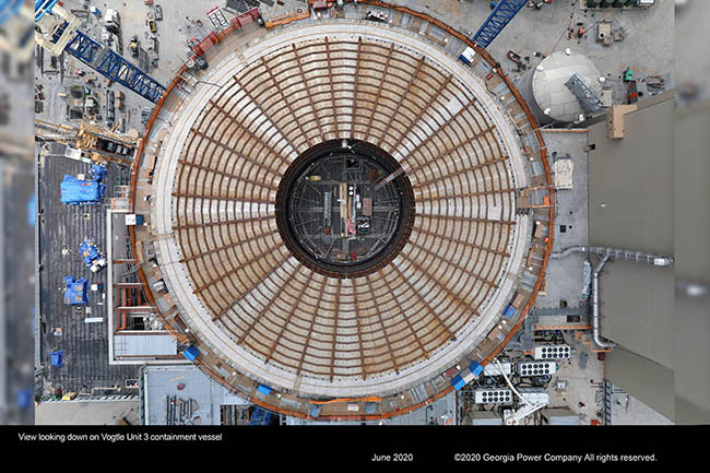 View looking down on the Vogtle Unit 3 containment vessel