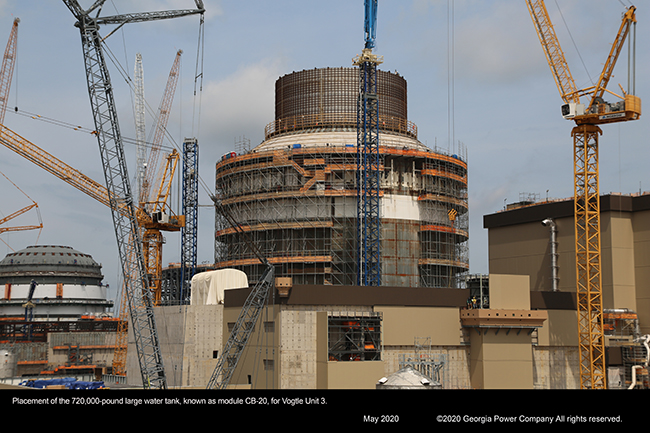 Placement of the 720,000-pound large water tank, known as module CB-20, for Vogtle Unit 3