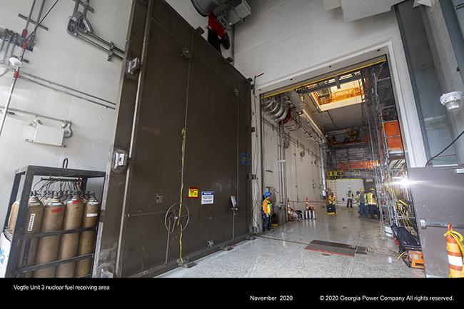 Vogtle Unit 3 nuclear fuel receiving area