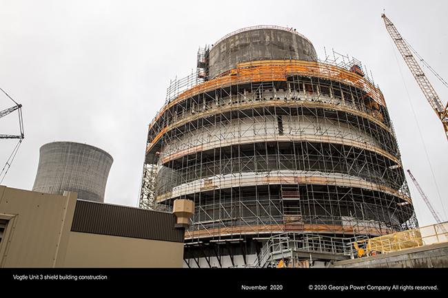 Vogtle Unit 3 shield building construction.