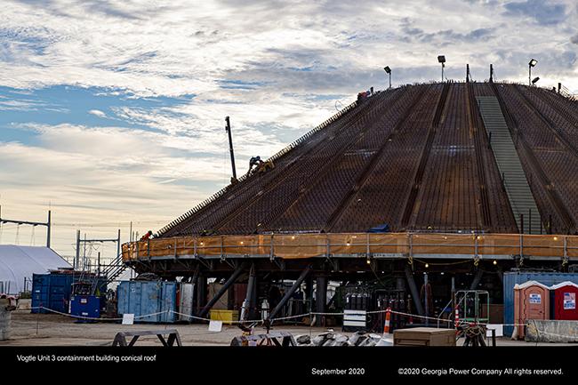 Vogtle Unit 3 continament roof