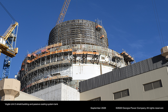Vogtle Unit 3 shield building and passive cooling system tank