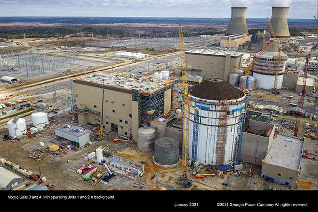 Vogtle Units 3 and 4, with operating Units 1 and 2 in background