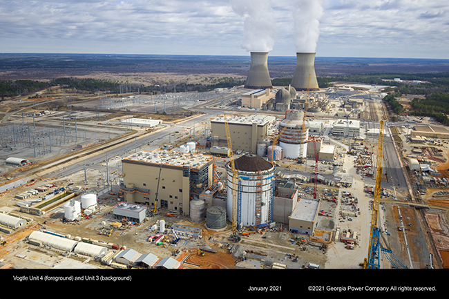 Vogtle Unit 4 containment (foreground) and Unit 3 (background)