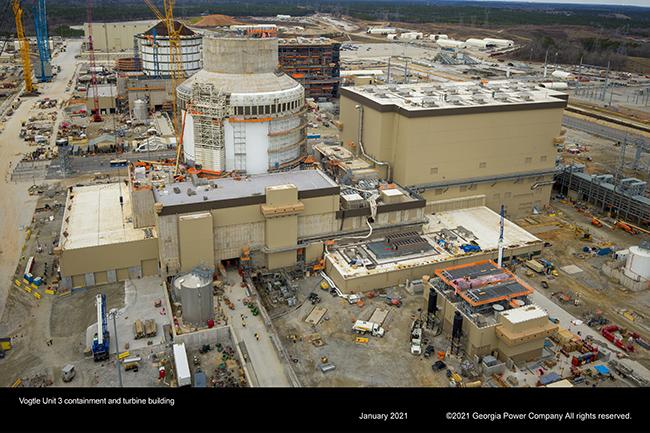 Vogtle Unit 3 containment and turbine building
