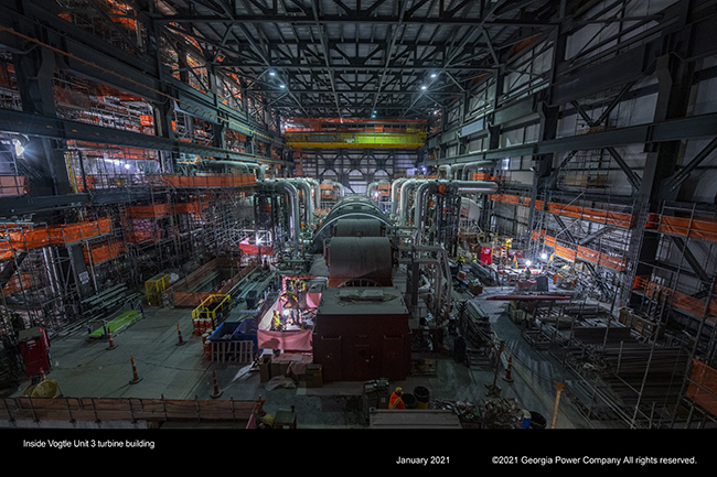 Inside Vogtle Unit 3 turbine building