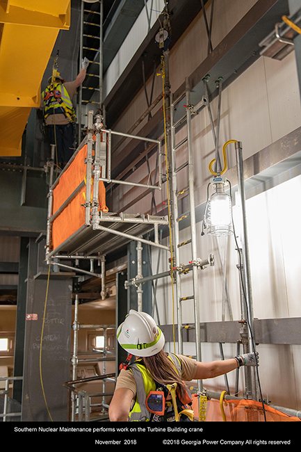 Southern Nuclear Maintenance performs work on the Turbine Building crane