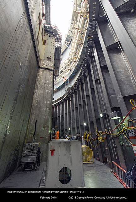 Inside the Unit 3 in-containment Refueling Water Storage Tank (IRWST)