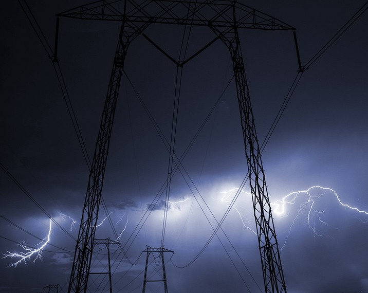 lightning striking near electric transmission lines
